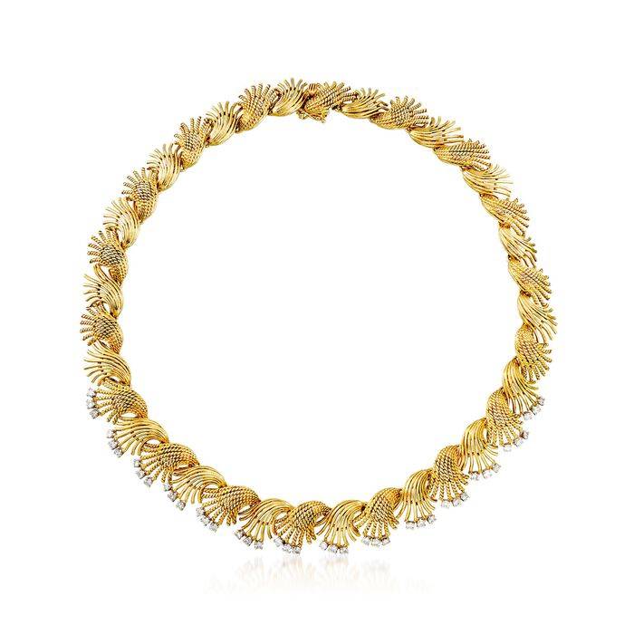 """C. 1970 Vintage 2.25 ct. t.w. Diamond Floral Necklace in 18kt Yellow Gold. 15"""", , default"""