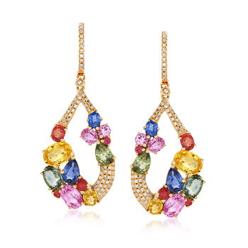 9.20 ct. t.w. Multicolored Sapphire and .42 ct. t.w. Diamond Teardrop Earrings in 18kt Yellow Gold, , default