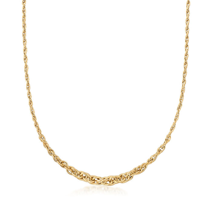 Italian 14kt Yellow Gold Twisted Link Graduating Necklace, , default