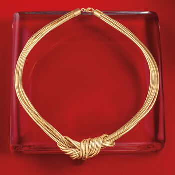 Italian Flex Knot Necklace With 18kt Gold Over Sterling, , default