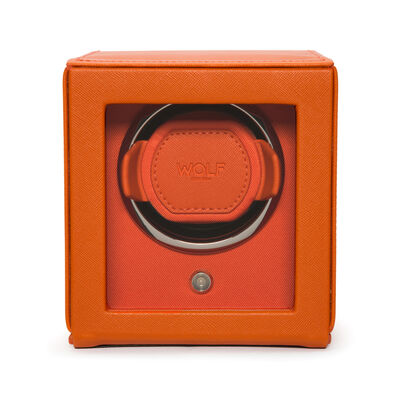 "Wolf ""Cub"" Orange Leather Watch Winder, , default"
