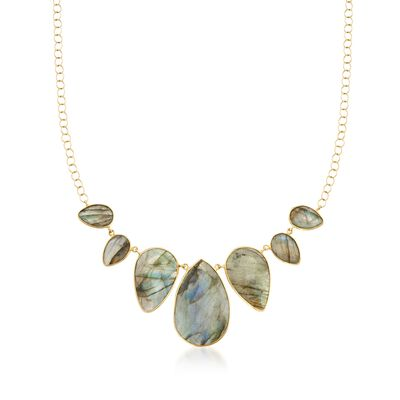 Labradorite Bib Necklace in 14kt Yellow Gold Over Sterling Silver, , default