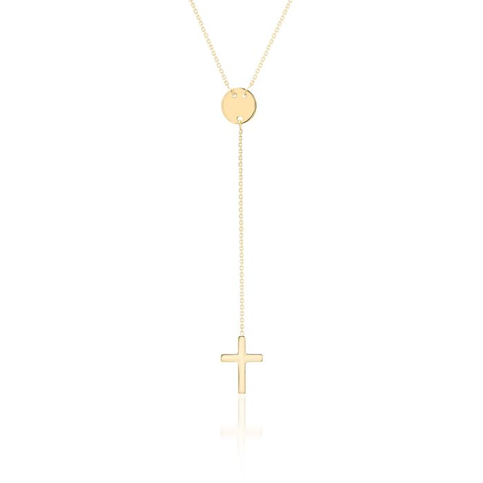 "14kt Yellow Gold Cross and Disc Y-Necklace. 16"", , default"