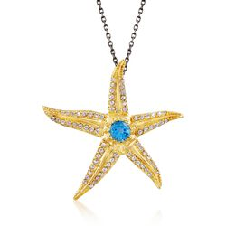 "2.20 ct. t.w. Blue and White Topaz Starfish Pendant Necklace in 18kt Gold Over Sterling. 18"", , default"