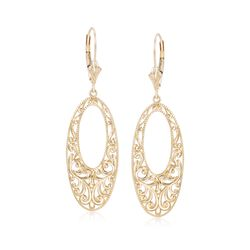 14kt Yellow Gold Oval Scrollwork Earrings, , default