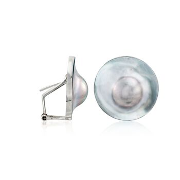 23mm Gray Cultured Blister Pearl Earrings in Sterling Silver, , default