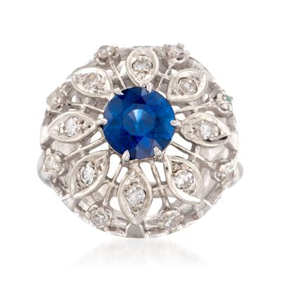 C. 1980 Vintage 1.25 Carat Sapphire and .40 ct. t.w. Diamond Dome Ring in 14kt White Gold, , default