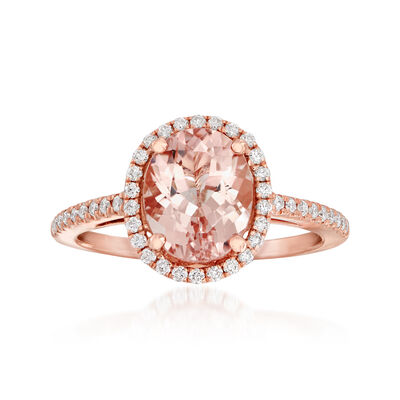 2.40 Carat Morganite and .33 ct. t.w. Diamond Ring in 14kt Rose Gold, , default
