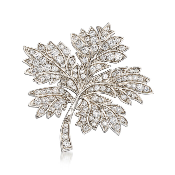 2.00 ct. t.w. CZ Maple Leaf Brooch in Sterling Silver, , default