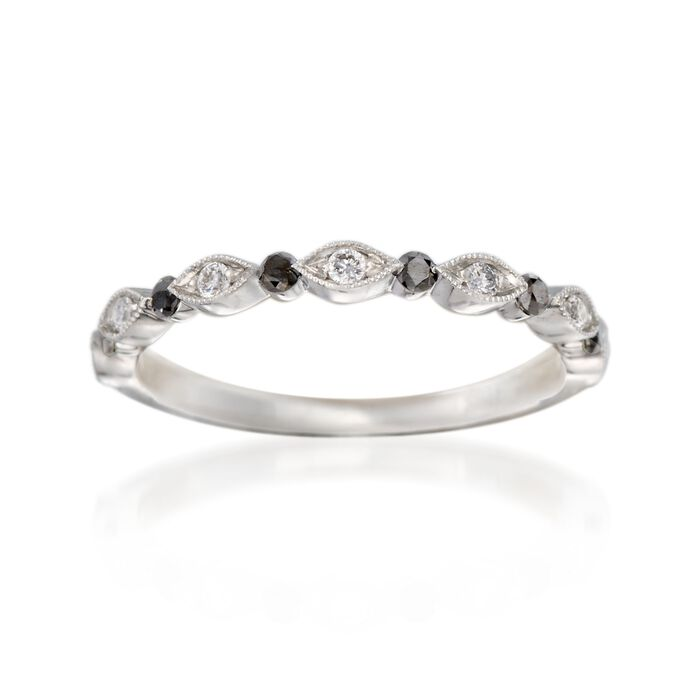 Henri Daussi .21 ct. t.w. Black and White Diamond Ring in 14kt White Gold, , default