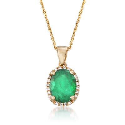 1.70 Carat Emerald Pendant Necklace with Diamond Accents in 14kt Yellow Gold, , default