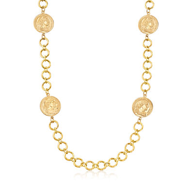 Italian 18kt Gold Over Sterling Station Coin Necklace