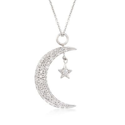Roberto Coin .29 ct. t.w. Diamond Moon and Star Pendant Necklace in 18kt White Gold, , default