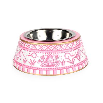 White and Pink Pagoda Pet Bowl