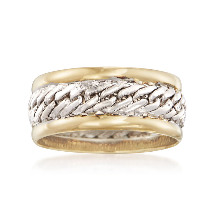 14kt Yellow Gold and Sterling Silver Curb-Link Ring