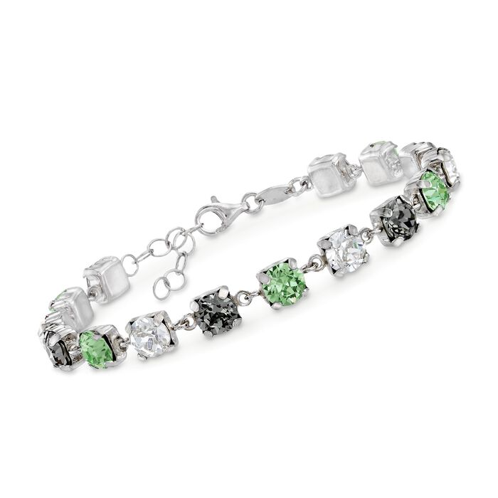 """Italian Sterling Silver Bracelet with Gray and Green Swarovski Crystals. 6.75"""", , default"""