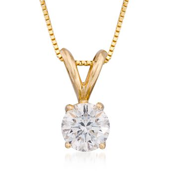 ".75 Carat Diamond Solitaire Necklace in 14kt Yellow Gold. 18"", , default"