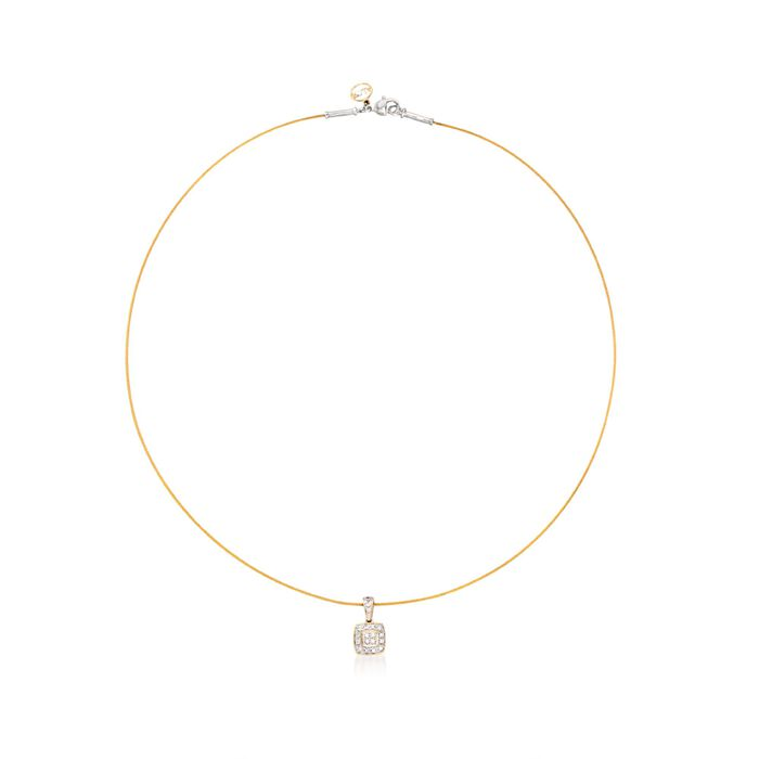 """ALOR """"Classique"""" .17 ct. t.w. Diamond Square Pendant Necklace With Yellow Stainless Steel and 18kt Gold. 17"""", , default"""