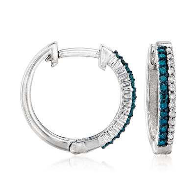 .25 ct. t.w. Blue and White Diamond Hoop Earrings in Sterling Silver