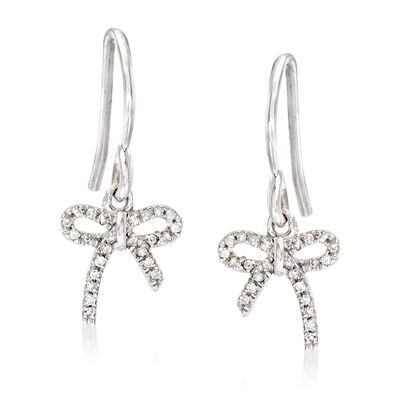 Bow Drop Earrings with Diamond Accents in Sterling Silver