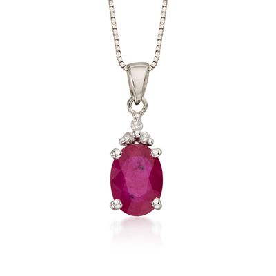 .85 Carat Ruby Pendant Necklace with Diamond Accents in 14kt White Gold    , , default