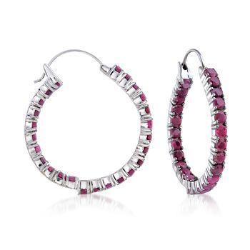 """6.50 ct. t.w. Ruby Inside-Outside Hoop Earrings in Sterling Silver. 1 3/8"""", , default"""