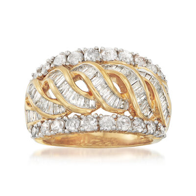 2.00 ct. t.w. Diamond Center Twist Ring in 18kt Yellow Gold Over Sterling, , default
