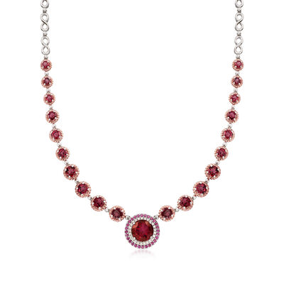 5.75 Carat Red Quartz and 14.30 ct. t.w. Multi-Stone Necklace in Sterling and 18kt Rose Gold