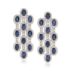12.00 ct. t.w. Sapphire and 2.92 ct. t.w. Diamond Earrings in 18kt White Gold, , default