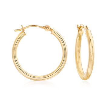 14kt Yellow Gold Heart Charm Hoop Earrings