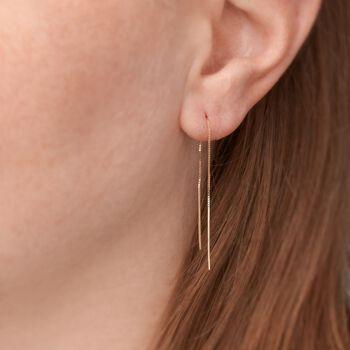 14kt Yellow Gold Linear Bar Drop Threader Earrings