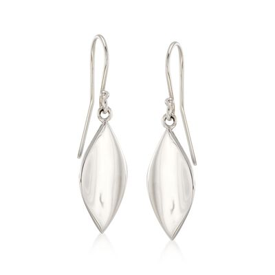 "Zina Sterling Silver Small ""Smooth Leaf"" Drop Earrings, , default"