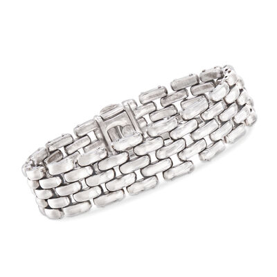 Italian Sterling Silver Basketweave Bracelet, , default