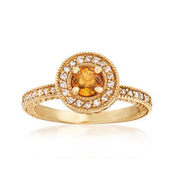 C. 2000 Vintage .50 Carat Yellow Sapphire and .50 ct. t.w. Diamond Ring in 14kt Yellow Gold, , default