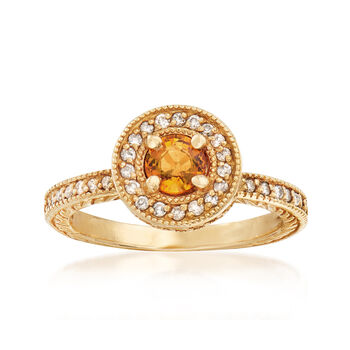 C. 2000 Vintage .50 Carat Yellow Sapphire and .50 ct. t.w. Diamond Ring in 14kt Yellow Gold. Size 7, , default