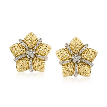 """C. 1980 Vintage 1.10 ct. t.w. Diamond Floral Star Earrings in 18kt Yellow Gold. 5/8"""", , default"""