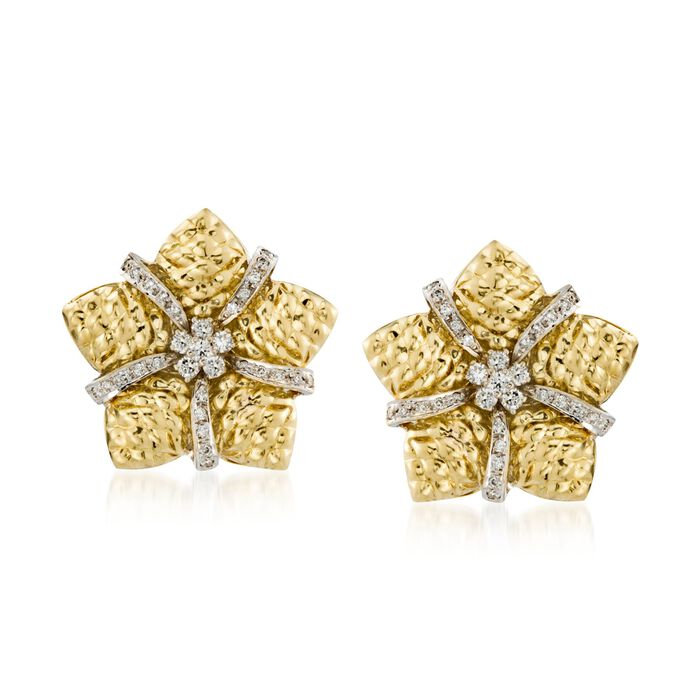 "C. 1980 Vintage 1.10 ct. t.w. Diamond Floral Star Earrings in 18kt Yellow Gold. 5/8"", , default"