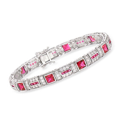 7.35 ct. t.w. Simulated Ruby and 2.30 ct. t.w. CZ Bracelet in Sterling Silver, , default