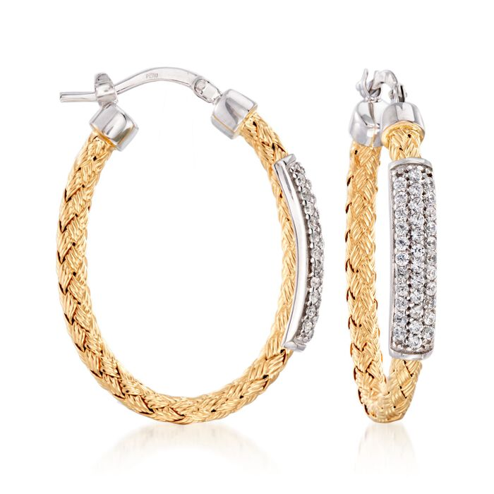 "Charles Garnier ""Nardini"" .60 ct. .W. CZ Oval Hoop Earrings in Two-Tone Sterling Silver. 1 1/4"", , default"