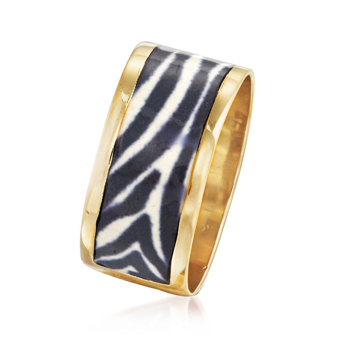 Italian Zebra-Print Enamel Ring in 14kt Yellow Gold