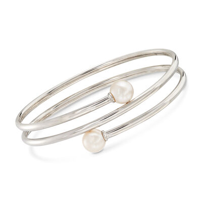 8-8.5mm Cultured Pearl Bypass Bangle Bracelet in Sterling Silver, , default