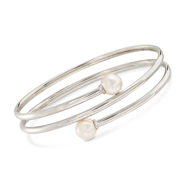 8-8.5mm Cultured Pearl Bypass Bangle Bracelet in Sterling Silver