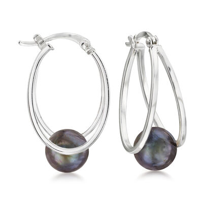 8-9mm Black Cultured Pearl Double-Hoop Earrings in Sterling Silver