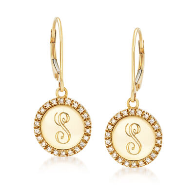 .14 ct. t.w. Diamond Disc Engravable Earrings in 14kt Yellow Gold, , default
