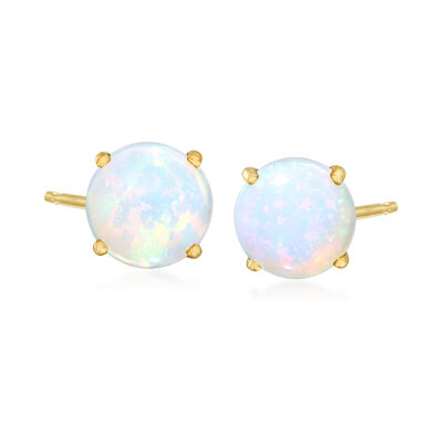 Opal Stud Earrings in 14kt Yellow Gold