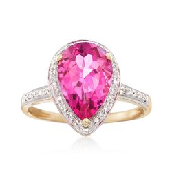 3.50 Carat Pink Topaz and .10 ct. t.w. Diamond Ring in 14kt Yellow Gold, , default