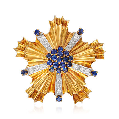 C. 1980 Vintage 1.75 ct. t.w. Sapphire and 1.20 ct. t.w. Diamond Burst Pin/Pendant in 18kt Yellow Gold, , default