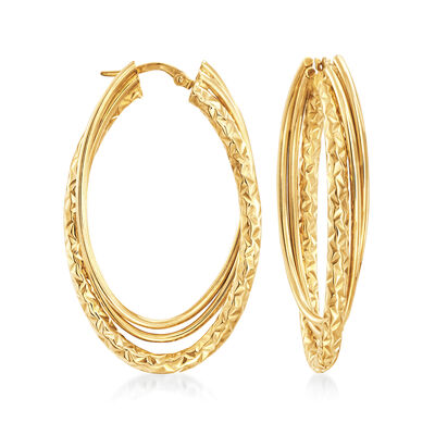 Italian 14kt Yellow Gold Triple Hoop Earrings
