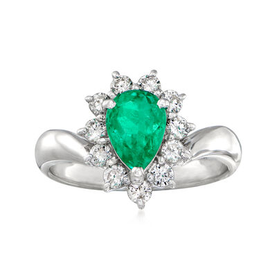 C. 2000 Vintage 1.06 Carat Emerald and .41 ct. t.w. Diamond Ring in Platinum