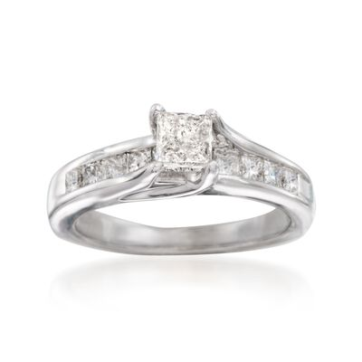 C. 2010 Vintage .90 ct. t.w. Princess-Cut Diamond Engagement Ring in 14kt White Gold, , default